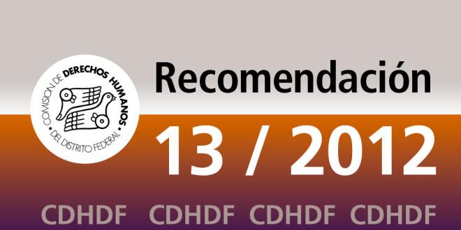 Recomendación 13/2012