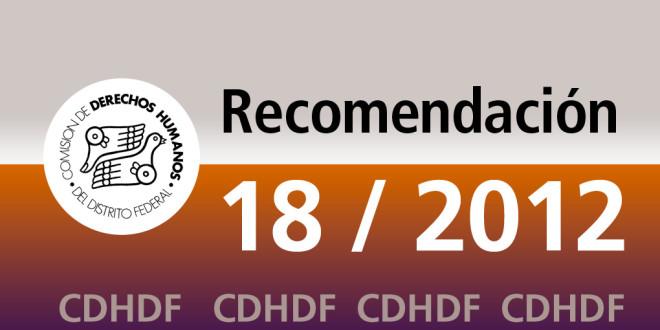 Recomendación 18/2012