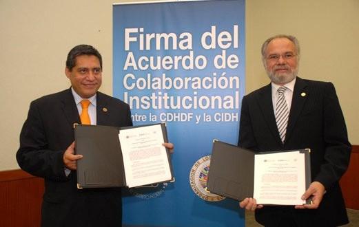 Firma del Acuerdo de Colaboración Institucional entre la CDHDF y CIDH