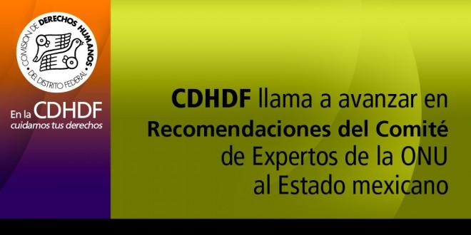 CDHDF llama a avanzar en Recomendaciones del Comité de Expertos de la ONU al Estado Mexicano