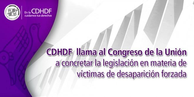 CDHDF llama al Congreso de la Unión a concretar la legislación en materia de víctimas de desaparición forzada