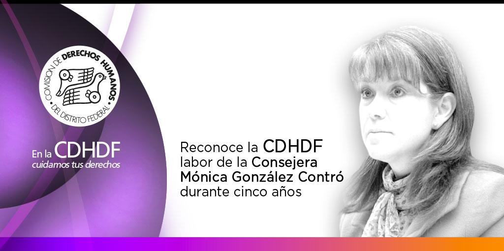 Reconoce la CDHDF labor de la Consejera Mónica González Contró durante cinco años
