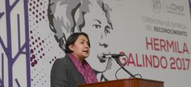 Palabras de la Doctora Perla Gómez Gallardo, Presidenta de la CDHDF, en la ceremonia de entrega del Reconocimiento Hermila Galindo 2017