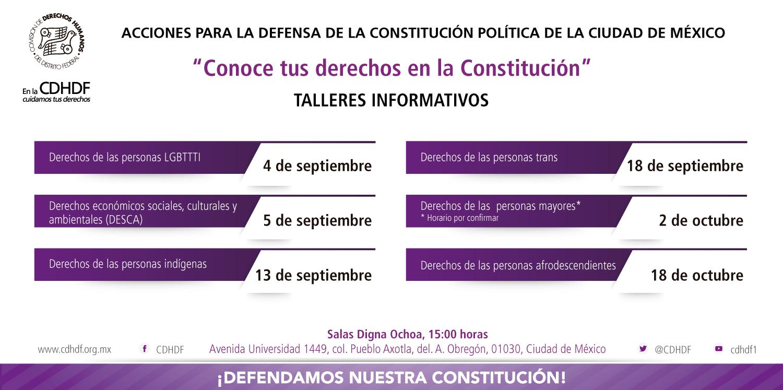 Talleres Informativos: Acciones para la Defensa de la Constitución Política de la Ciudad de México @ CDHDF