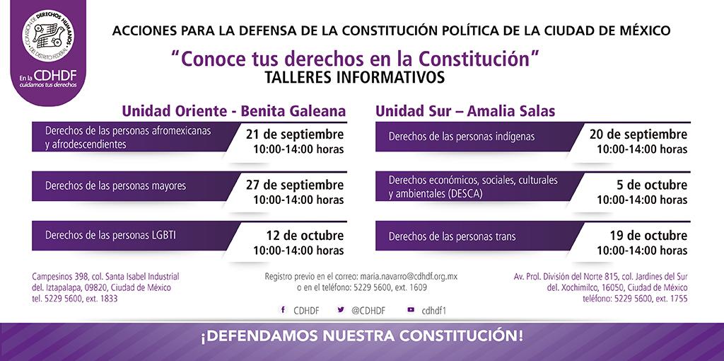 Talleres Informativos: Acciones para la Defensa de la Constitución Política de la Ciudad de México