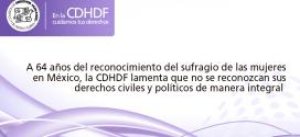 A 64 años del reconocimiento del sufragio de las mujeres en México,  la CDHDF lamenta que no se reconozcan sus derechos civiles y políticos de manera integral