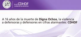 A 16 años de la muerte de Digna Ochoa, la violencia a defensoras y defensores en cifras alarmantes: CDHDF