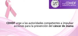 CDHDF urge a las autoridades competentes a impulsar acciones para la prevención del cáncer de mama