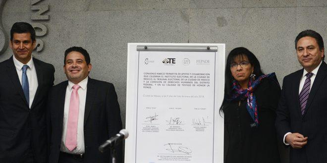CDHDF, IECM y TECDMX firman Convenio para Prevenir, Erradicar y Sancionar la Violencia Política Electoral en la Ciudad de México