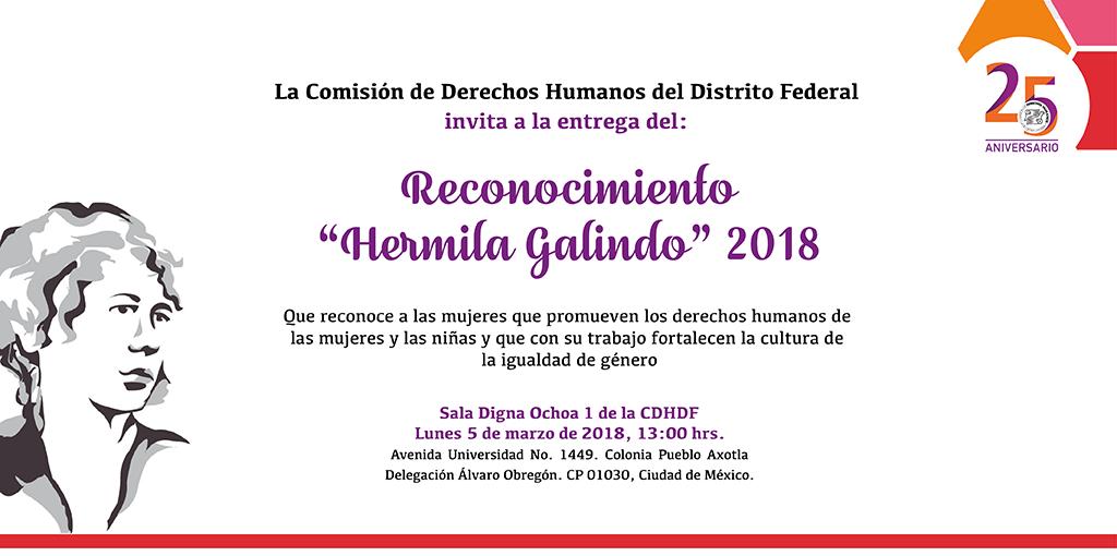 Entrega de Reconocimiento Hermila Galindo 2018 @ CDHDF