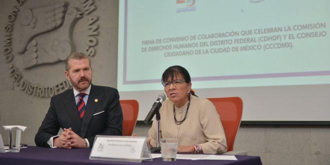 Discurso de la Presidenta de la CDHDF, Nashieli Ramírez Hernández, en la firma de Convenio de Colaboración con el Consejo Ciudadano de la Ciudad de México