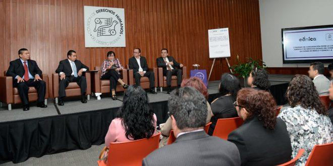 Discurso de la Presidenta de la CDHDF, Nashieli Ramírez Hernández, en la Firma de Convenio de Concertación entre la Consejería Jurídica y de Servicios Legales de la Ciudad de México y Ednica, IAP, en la que este organismo fungió como testigo de honor.