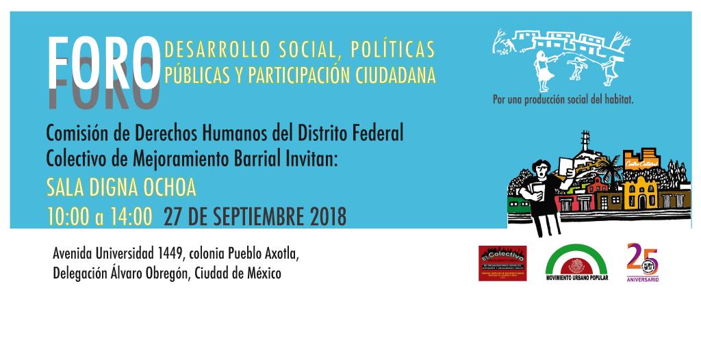Foro: Desarrollo Social, Políticas Públicas y Participación Ciudadana @ CDHDF