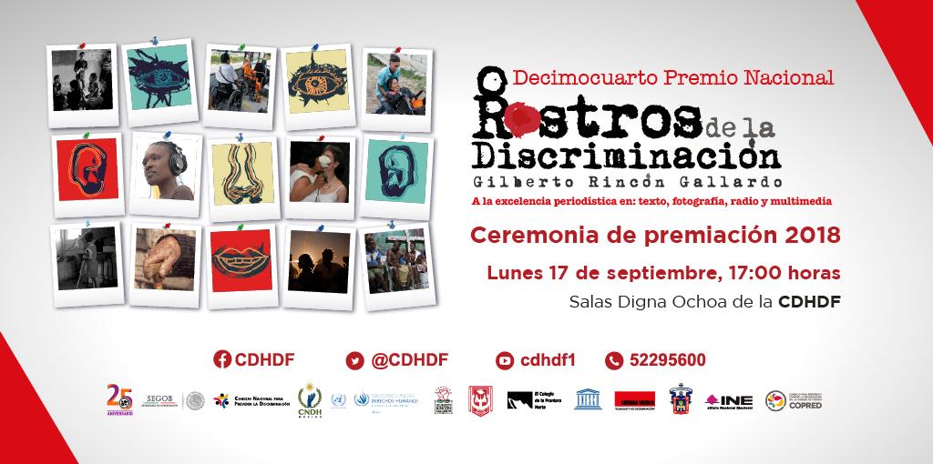 """Premio Rostros de la Discriminación """"Gilberto Rincón Gallardo"""" 2018 @ CDHDF"""