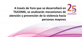 A través de Foro que se desarrollará en TSJCDMX, se analizarán mecanismos de atención y prevención de la violencia hacia personas mayores