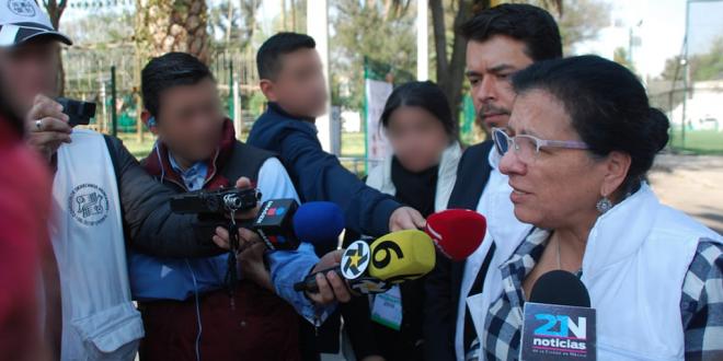 """Entrevista a la Presidenta de la CDHDF, Nashieli Ramírez Hernández, sobre la caravana migrante, en el albergue instalado en el Estadio Jesús Martínez """"Palillo""""."""