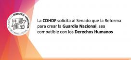 La CDHDF solicita al Senado que la Reforma para crear la Guardia Nacional, sea compatible con los Derechos Humanos