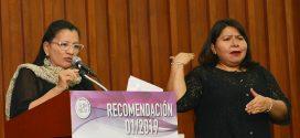 Presidenta de la CDHDF, Nashieli Ramírez Hernández, en la presentación de la Recomendación 1/2019.