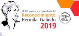 """CDHDF anuncia a las ganadoras del Reconocimiento """"Hermila Galindo"""" 2019"""