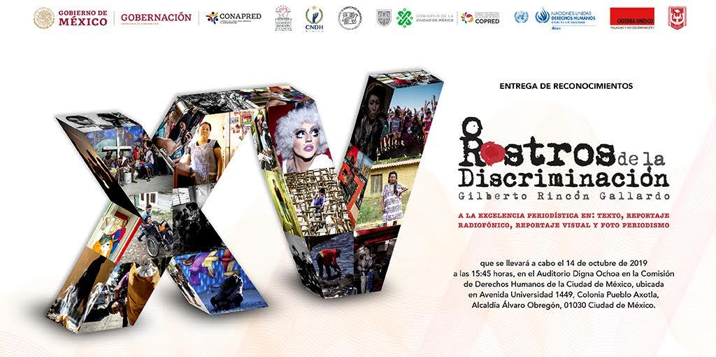 Ceremonia de entrega de Reconocimientos delXV Premio Nacional Rostros de la Discriminación @ Av. Universidad 1449, colonia Pueblo Axotla, Alcaldía Álvaro Obregón, Ciudad de México