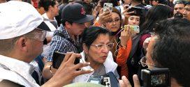 Entrevista a la Presidenta de la CDHCM, Nashieli Ramírez Hernández, en la marcha del 2 de octubre, a su llegada al Zócalo capitalino