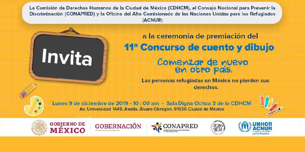 """Premiación delConcurso de cuento y dibujo 2019: """"Las personas refugiadas en México no pierden sus derechos"""""""