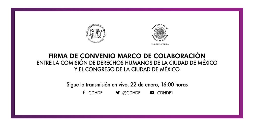 Firma de Convenio CDHCM y el Congreso de la Ciudad de México