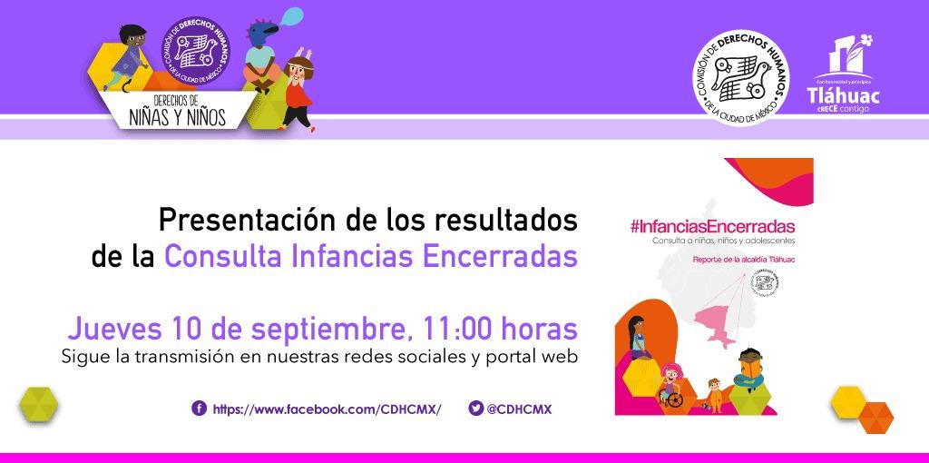 Presentación de los resultados de laConsulta Infancias Encerradas, en las Alcaldías Tláhuac y Venustiano Carranza