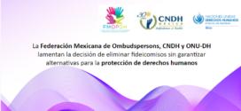 La Federación Mexicana de Ombudspersons, CNDH y ONU-DH lamentan la decisión de eliminar fideicomisos sin garantizar alternativas para la protección de derechos humanos