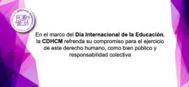 En el marco del Día Internacional de la Educación, la CDHCM refrenda su compromiso para el ejercicio de este derecho humano, como bien público y responsabilidad colectiva